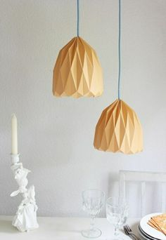 lampenschirm basteln gelbes farbpapier falten