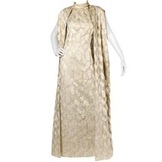 Bernetti Deadstock Vintage 1970s 70s Metallic Brocade Maxi Dress + Cape Ensemble | From a collection of rare vintage suits, outfits and ensembles at http://www.1stdibs.com/fashion/clothing/suits-outfits-ensembles/