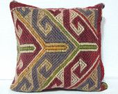 40 Y.OLD Turkish  throw pillow Covers- Anatolian Handwoven Kilim Cushions- Tribal Pillow- Modern Bohemian Pillow- Vintage throw pillow Cover