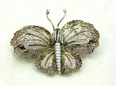 Vintage Mexican Butterfly Brooch 1920s Era Possibly by imagiLena