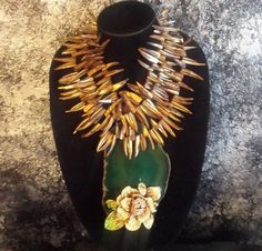 Huge Agate Statement Pendant Exotic Shell Statement Necklace Golden Rhinestone Rose Necklace Wild Woman Jewelry JAWDROP Luxury Upscale OOAK by KATROXWEARATTITUDE on Etsy