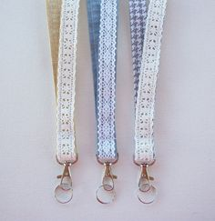 Lace Lanyard  ID Badge Holder - Lobster clasp and key ring - houndstooth, smokey gray, or faux burlap - two toned double sided