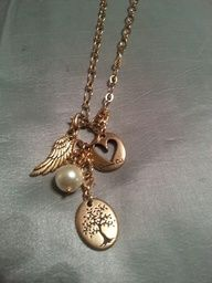 Shop: www.jjmason.origamiowl.com  Dangles, dangles and more dangles. Gold angel wing, pearl accent, origami owl heart and tree of life.