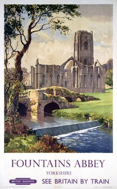 The ruined and stately Fountains Abbey in Yorkshire, used in the middle ages