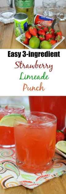 Easy 3- Ingredient Strawberry Limeade Punch Recipe from missinthekitchen.com Perfect for parties!