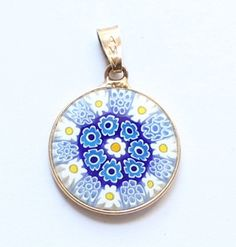 Vintage Italian Murano Millefiori Glass Sterling Silver Glass Pendant by paststore on Etsy
