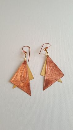 Love Earrings Mixed Metal Copper Brass Dangle Earrings Layered Metal Earrings Long Earrings Gift for Her Valentines Birthday lgbstyles Women by LGBStyles on Etsy