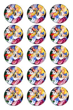 "Alice in Wonderland Bottle Cap 1"" Circle Images Sheet #AW10 (instant download)"