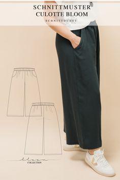 Unser Schnittmuster Culotte Bloom ist eine lässig geschnittene High-Waist-Hose mit weiten Beinen und elastischem Bund – modern aber zeitlos. Bequem wie eine gemütliche Hose, elegant und schwungvoll wie ein Rock. Style deine Culotte Bloom lässig und sportlich mit einem engen Shirt oder cropped Top – oder etwas schicker mit einer weißen Bluse und hochgekrempelten Ärmeln. Ob mit Sneakers, Ballerinas oder High Heels, kreiere vielseitige Looks mit deiner neuen selbstgenähten Lieblingshose. Cropped Tops, Diy Kleidung, Rock Style, Tweed, Elegant, Khaki Pants, Suits, High, Bloom