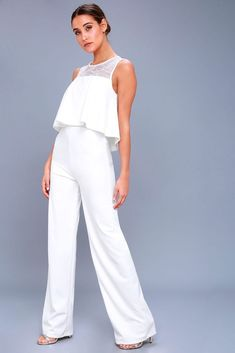 362261190bd5 Lulus Romper Jumpsuit Size Small White Wide Leg Pant  fashion  clothing   shoes