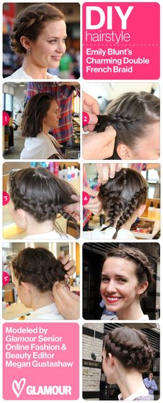 Get Emily Blunt's braided updo, modeled on our own Megan Gustashaw!