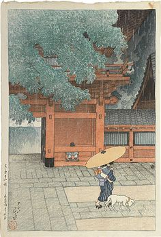 Kawase Hasui (1883-1957): Twelve Scenes of Tokyo: Early Summer Showers at Sanno Shrine, woodblock print, ca. 1919.