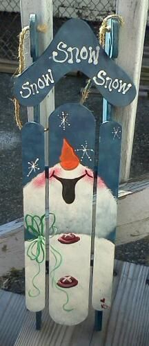 How cute is this snowman painted on an old sled? Perfect for Christmas and the whole winter season! Christmas Sled, Christmas Signs, Winter Christmas, All Things Christmas, Christmas Holidays, Christmas Decorations, Christmas Ornaments, Snowman Crafts, Christmas Projects