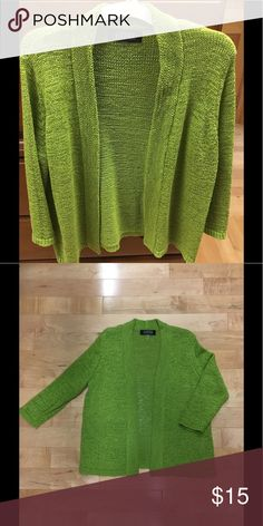 Lime green open cardigan Jasper bright green open cardigan sweater Kasper Sweaters Cardigans