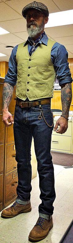 Railcar Spikes fit non-selvage raw denim jeans, Levi's chambray workshirt, Ralph Lauren khaki twill vest, Stetson wool hat, vintage bandana, belt, and Carolina work boots.