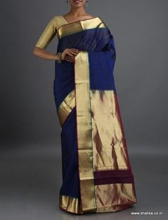 Madhumati Plain with Unadorned Pallu Border #CoimbatoreSilkCottonSaree