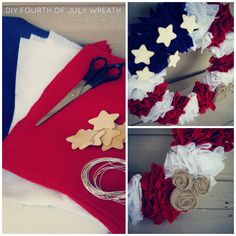 """DIY Fourth of July Wreath: """"Can be used for Independence Day, Support Your Troops or just as a proud American wreath! Simple, fun and inexpensive! Only took 1 hour too! God Bless the USA"""" ~Blogger"""