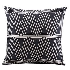 "Create For-Life Cotton Linen Decorative Pillowcase Throw Pillow Cushion Cover Square 18"" Retro Black Solid Triangle Create For-Life http://www.amazon.com/dp/B00MRX44EQ/ref=cm_sw_r_pi_dp_SKjGvb11A3S58"