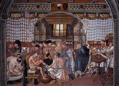 Care of the Sick (detail), fresco in Spedale di Santa Maria della Scala, Siena Italian Painters, Italian Artist, Santa Maria, Periodic Table S, Giorgio Vasari, Perspective Drawing, Oil Painting Reproductions, Traditional Art, Sick