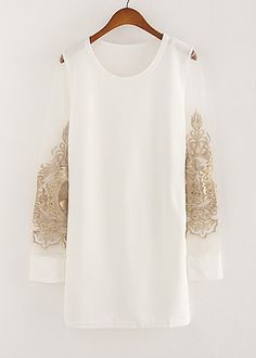 White FLoral Embroidery Contrast Mesh Yoke Dress 0.00