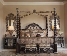Antique four poster bed Tufted headboard, high style
