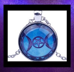 NEW - TRIPLE MOON GODDESS GLASS OPTIC ANTIQUE SILVER PENDANT NECKLACE #Handmade #Pendant