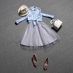 $63.99 - European style 2016 women 2pcs dress set new denim shirt   Lapel waist dress skirt fashion clothing suit gauze female Z4488