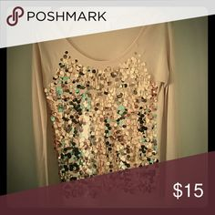Victoria's Secret sequin top Rose gold Still has all the sequins Minor pilling at the underarms Victoria's Secret Tops Tees - Long Sleeve