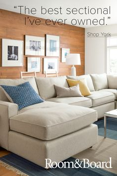 With our York sectional, everyone—short, tall and in between—can have a seat. A Room & Board favorite since the seat height and depth of York is designed to accommodate a range of sizes with great support and comfort. This smaller scale and variety Small Living Rooms, My Living Room, Home And Living, Living Room Designs, Living Room Decor, Bedroom Small, Baby Bedroom, Small Family Rooms, Small Living Room Sectional