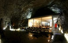 The restaurant inside Hotel La Claustra, near Airolo, has cavernous walls and a minimalist interior