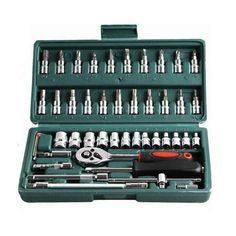 "46pc Spanner Socket Set 1/4"" Car Repair Tool Ratchet Wrench Set Cr-v hand tools Combination Bit Set Tool Kit"