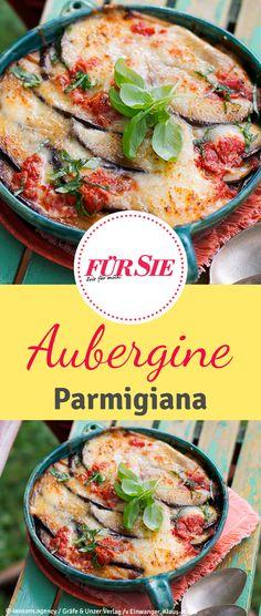 Rezept für überbackene Aubergine italienischer Art mit Tomaten und Knoblauch
