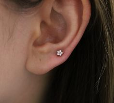 Tiny Baby Flower 4mm piercing tragus by SerendipityinSeoul on Etsy