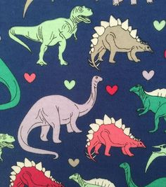 "Doodles Juvenile Apparel Fabric 57""-  Dino Gal Interlock"