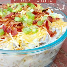 Loaded Baked Potato Salad.  I'm not a big fan of potato salad, I have issues with the yellow color.  (Yes, I'm odd :) )  maybe I could try this instead