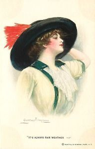 Artist-Signed-Clarence-Underwood-1915-Pretty-Woman-Big-Hat-Vintage-Postcard