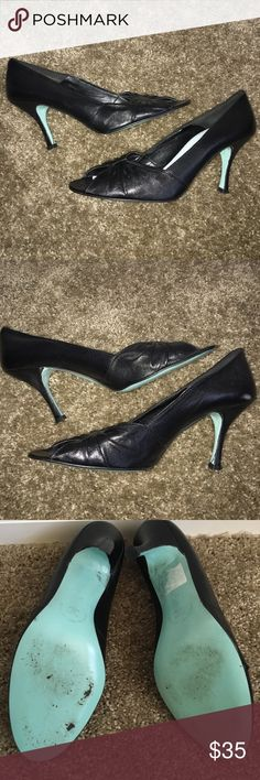 Cynthia Rowley Peep Toe Black Pumps Size 10 Worn once.  Heel is 2.25 inches.  Left heel has some barely noticeable glue remnants, Inside right heel has some discoloration, see last pics.  Leather sole.  No box. Cynthia Rowley Shoes Heels