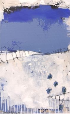 Painting in white & blue, a fresh breeze! To me it's a seascape, showing it's different shades of blue and white on a clear day.   Mixed media, with graphical elements - just look at the details!...
