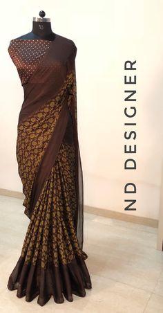 Silk Cotton Sarees, Georgette Sarees, Designer Sarees, Designer Dresses, Nice Clothes, Clothes For Women, Dress Outfits, Dress Up, Silk Saree Blouse Designs