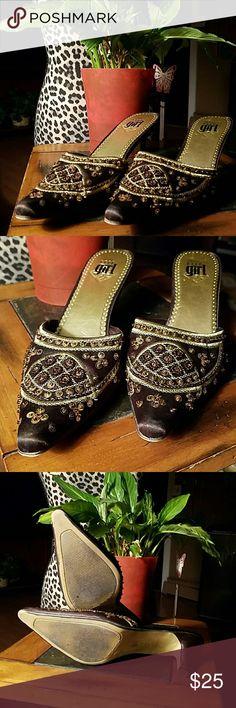 GORGEOUS Elle Girl Beaded Heels Size 8.5 BEAUTIFUL beaded satiny heels with minimal wear. Elle Girl Shoes Heels