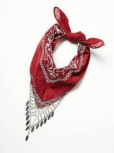 Chase Me Chain Bandana | Super soft printed bandana featuring polyester and metal fringe detailing.  Whether it's around your neck or in your hair, there are endless options.