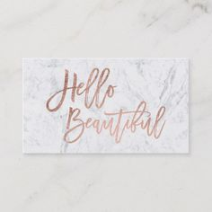 Hello beautiful faux rose gold chic script marble business card - Are you ready to take your business to the next level? Start with a new business card. Marble Room Decor, Rose Gold Room Decor, Rose Gold Rooms, Marble Bedroom, Gold Bedroom Decor, Bedroom Sets, Glam Bedroom, Bedding Sets, Bedroom Furniture