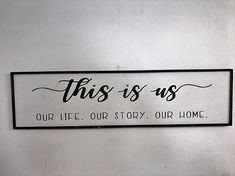 This is Us Our Life Our Story Our Home sign painted in the fixer upper style looks great hanging on your wall in the bedroom over the bed, above the sofa, or in any room of your home! Wonderful hanging in your farmhouse decor with a photo grouping of your family life! Lovely