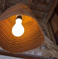 Luminaria Corrugated Board Pendant Light – Tudo And Co Farmhouse Light Fixtures, Farmhouse Lighting, Dining Lighting, Pendant Lighting, Cardboard Sculpture, Lighting Companies, Modern Pendant Light, Light Architecture, Light Fittings