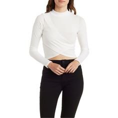 Charlotte Russe Ivory Ribbed Mock Neck Wrap Top by Charlotte Russe at... ($18) ❤ liked on Polyvore featuring tops, sweaters, ivory, white knit sweater, ribbed turtleneck sweater, long sleeve sweaters, white crop top and knit sweater
