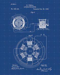 Patent Print Tesla AC Motor Tesla Wall Art от VisualDesign