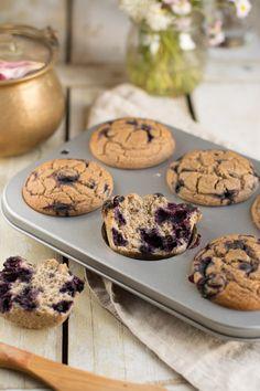 Vegan Gluten-Free Blueberry Muffins [Oil-Free & Sugar-Free], subtly sweet