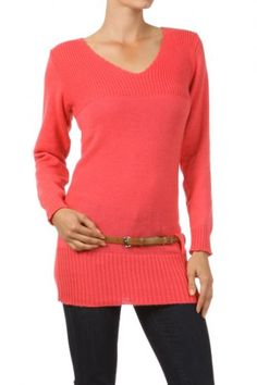 65 percent Acrylic 35 percent Polyester 1S/2M/2L/1XL Per Pack Salmon, Red, Black, Purple, Beige, Teal This HIGH QUALITY top is VERY CUTE!! Made from a very soft and comfy fabric, this fitted v-neck knit top with an attached skinny belt is hand washable, and fits true to size.
