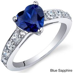 Oravo Sterling Silver Heart Gemstone and Cubic Zirconia Ring ($30) ❤ liked on Polyvore featuring jewelry, rings, blue, heart band ring, blue ring, band rings, sterling silver cubic zirconia rings and cz rings