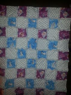 Frozen Sisters Forever and Olaf Rag Quilt I wish the picture showed how beautiful this quilt is https://www.facebook.com/RagAMuffinThrows